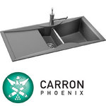 View Item Carron Phoenix ZX150 1.5 Bowl Granite Stone Grey Kitchen Sink &amp; Waste